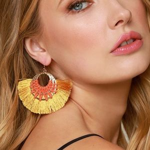 Jewelry - NEW! Mustard Tassel Triple Hoop Earrings